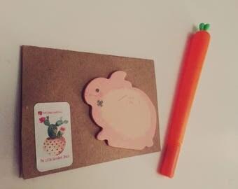 Cute rabbit mini organiser set - rabbit post it notes & either a rabbit pen or a carrot pen! Bunny lovers stocking filler! Rabbit gift