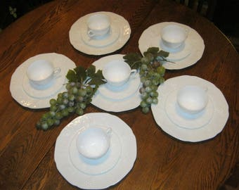 Colony Harvest Grape Milk Glass Place Settings. 6-4 piece luncheon cup/saucer/tumbler settings.