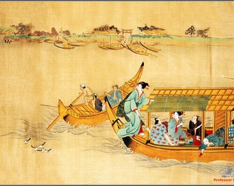 ORIGINAL design, durable and WASHABLE PLACEMAT - painting - Japanese Art 1 - Classic.