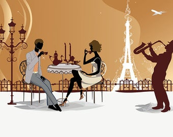 ORIGINAL design, durable and WASHABLE PLACEMAT - Paris 21 - classic holiday.
