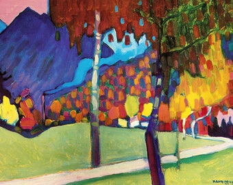 ORIGINAL design, durable and WASHABLE PLACEMAT - Wassily Kandinsky - study of autumn near Oberau - classic.