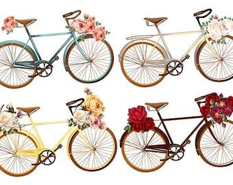 VINTAGE TABLE SET, ORIGINAL, plastic, WASHABLE and durable - vintage decor - bicycle floral roses - classic.