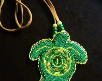 Beaded Turtle Medallion