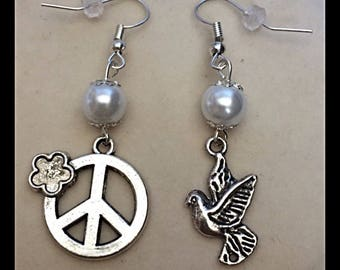 "Mismatched earrings ""Peace and Dove"""