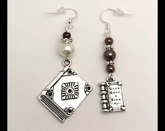 """Books"" mismatched earrings"