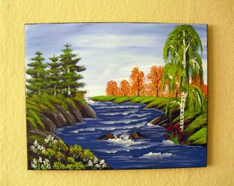 Oil painting-Bob Ross - landscape painting River forest image