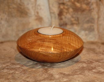 Small ash wood candle holder
