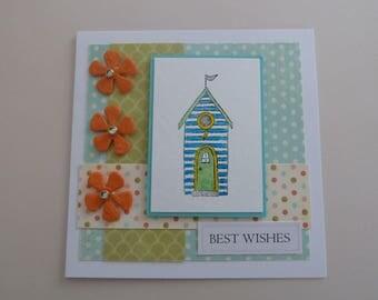 handmade beach hut best wishes card, UK