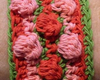 Red, pink, green popcorn stitch crocheted cotton bracelet