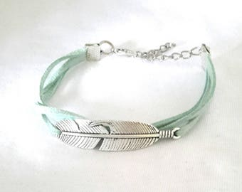 Handmade bracelet silver feather suede Seagreen uniquely ❤
