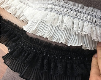 """High quality Embroidery pleated chiffon lace trims ribbons 9cm 3.54"""" Off white Black x1m BYDC093"""