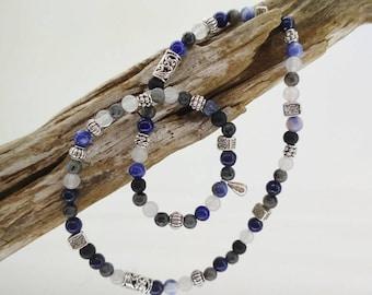Double women bracelet, Crystal healing - shades of blue - lapis lazuli, sodalite, white jade.