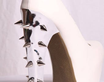 Silver Patent Leather Spiked Heel Covers (Heel Transformers)