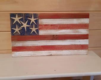 "12"" x 20"" American Flag with 5 starfish"