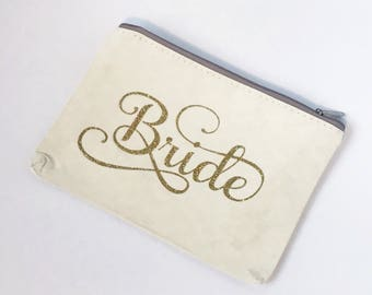 Bride clutch purse - bridesmaid clutch purse - bridal party gift bag - gift idea - custom gift bag - gold - silver - ivory purse