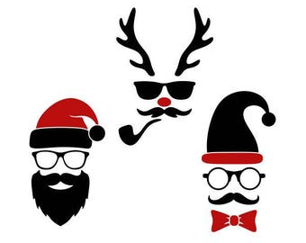 Hipster Hip Reindeer Santa Christmas Cuttable Design SVG PNG DXF & eps Designs Cameo File Silhouette