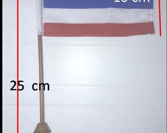 Thailand Flag National + Wooden Stand. Product Thai.
