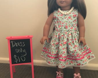 18 Inch Doll Clothes, Dress, Shoes and Necklace. American Girl, Our Generation,Journey Girls
