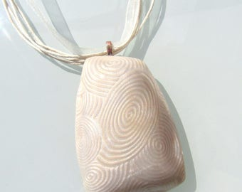 Made entirely by hand with pearly - white polymer clay pendant necklace