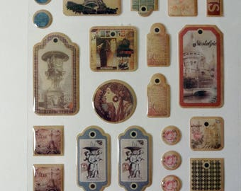 Stickers (x 24) vintage retro Paris epoxy
