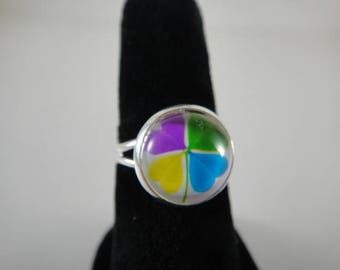 Ring adjustable silver metal with 12mm glass cabochon