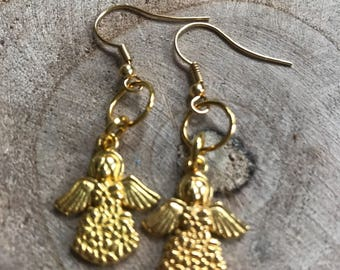 View gold earrings with Angel