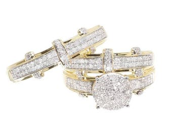 Regaalia Jewels 14K Yellow Gold Over Round Diamond Engagement Bridal Wedding Ring Trio Set 2 CT All Size Available FREE SHIPPING