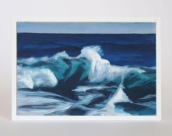 Mini Oil Painting Wave Landscape 3.5in x 5in
