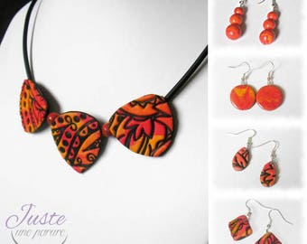 Set of polymer clay, tribal patterns colors of fire