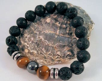 Gemstone bracelet for him made of lava, eye, hematite and stainless steel