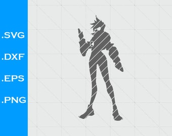 Overwatch Tracer Inspired, silhouette  SVG, png, Clipart, EPS, DXF, for decals, Vector, Silhouette Studio, videogames,  scal, videogames