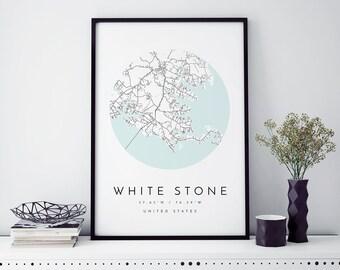 White Stone Map, White Stone Map, Minimalist Map, White Stone Virginia Print, White Stone Poster, White Stone Art,Modern Map Print,Virginia