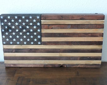 "Small Rustic Stained Wooden American Flag Wall Art/Decor. Approx. 18""x10""x2"" and 5-7 pounds."