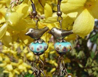 Earrings - Bronze - a bird green version
