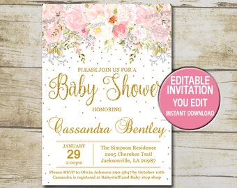 Gold Baby Shower Invitation Template, Editable, Girl Baby Shower Invitation  Blush Pink Flowers U0026  Baby Shower Invitation Template Download