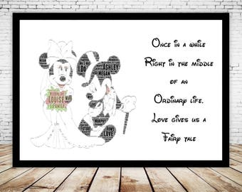 Personalised Mickey & Minnie Mouse Disney Wedding Engagement Anniversary Word Art Gift Fairy tale wedding Fairytale Vintage Walt Disney
