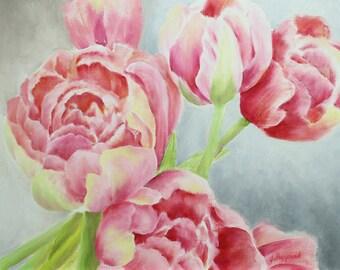 Oil Painting Flowering Peonies 11x14 by JS