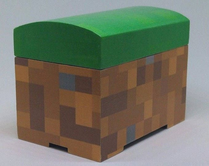 Minecraft inspired grass block Chest trinket box Ideal for Kids