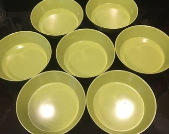 Avocado Green Melamine Bowls Set of 7