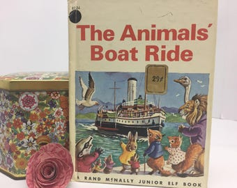 1966 The Animals' Boat Ride Vintage Rand McNally Junior Elf Book in Good and Complete Condition Children's Book