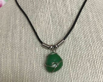 Green Stone Necklace, Wire Wrapped Pendant, Wire Wapped Stone Necklace, Simple Necklace, Green Necklace