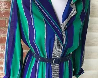 Henry Lee Petites Blue Green Striped Dress