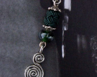 Bottle green tassel earrings