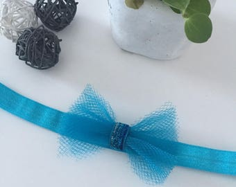 """Baby - child headband """"turquoise blue tulle"""" at the top for Christmas, new year's Eve, birth gift, baptism"""