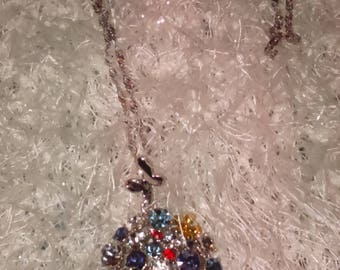 Austrian Crystal Butterfly pendant chain necklace