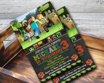 Mine Themed Invitation,Mine Themed Birthday,Mine Themed Birthday Invitation,Mine Themed Party,Mine Themed Birthay Party-NR121
