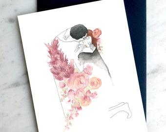 Kiss Klimt, Valentine love  Greeting card - Carte de souhaits amour St-Valentin Le baiser