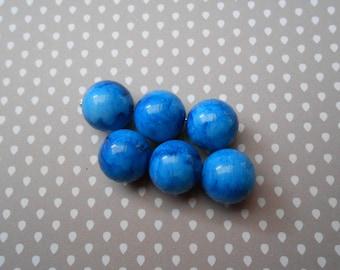 1 set of 6 mm blue marbre16 acrylic beads