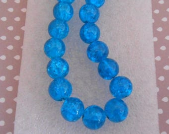 Set of 12 Blue 10 mm cracked glass beads