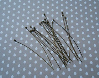 Set of 20 nails earrings grade 50 ball head pins x 0.5 mm color bronze
